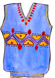 Child's drawing watercolor. sweater with ornament Royalty Free Stock Photo