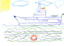 Child S Drawing With Big Battleship Royalty Free Stock Image