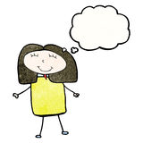 Child's drawing of a woman with thought bubble Royalty Free Stock Photo
