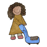 Child's drawing of a woman vacuuming. Retro cartoon with texture. Isolated on White Stock Photos
