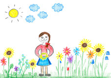 Childs drawing young girl with flowers. Childs drawing young girl with colorful flowers on meadow Royalty Free Stock Photos