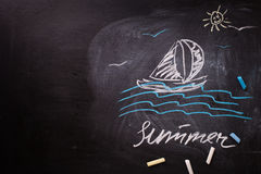 Child's drawings on blackbord. Place for text. Summer concept. Royalty Free Stock Photography