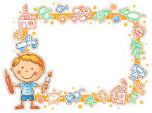 Child's Drawings Frame with the Little Painter Royalty Free Stock Image