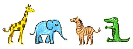 Wax crayon kid`s drawn of animals set. The giraffe, zebra, elephant and crocodile on white. royalty free illustration