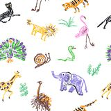 Wild animals seamless pattern. Crayon like kid`s hand drawn giraffe, elephant, lion, panther, isolated on white. Child`s drawn stroke colorful pastel chalk or royalty free stock photo