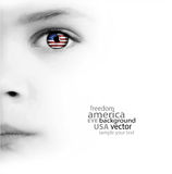 Child's face, eye and american flag Royalty Free Stock Photography