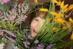 Child's Face with Valentine's Day Flowers Royalty Free Stock Image