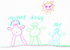 Child's family drawing Royalty Free Stock Photo
