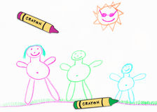 Child's family drawing Stock Image