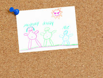 Child's family drawing on cork board Royalty Free Stock Photo