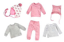 Child`s fashion clothes soft colors collage. Royalty Free Stock Photos