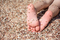 Child's feet on the pebbles beach Stock Photography