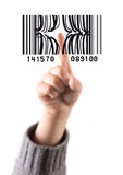 Child's finger press code bar Royalty Free Stock Photos