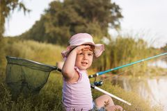 Free Child`s Fishing Time Royalty Free Stock Photo - 156715475