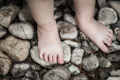 Child's foot learns to walk on pebbles, reflexology massage. Concepts about development learning in young children. Alternative medicine stock photography