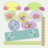 Child's frames. With dragonfly, snail, bird, turtle royalty free illustration