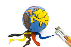 Child's Globe. With paint and paintbrush royalty free stock images