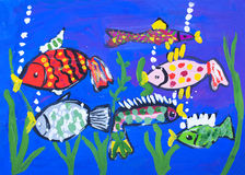 Child's gouache picture of the sea bottom. Child's gouache picture of some fishes in a sea bottom royalty free illustration