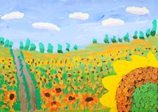 Child's gouache picture of sunflower field Stock Photography