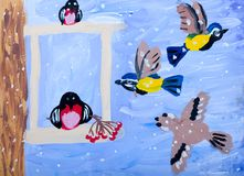 Child's gouache picture of winter birds Royalty Free Stock Photo