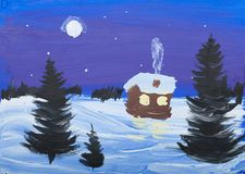 Child's gouache picture of winter landscape Royalty Free Stock Photography