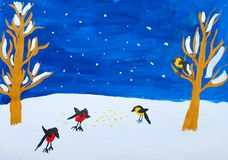 Child's gouashe picture of winter birds Royalty Free Stock Photography