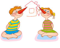 Child's gymnastics. The boy and the girl, sitting on rugs, draw paper noses imagined drawings in air Royalty Free Stock Photography
