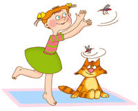 Child's gymnastics. Little girl and the kitten as if caught mosquitoes Stock Photo
