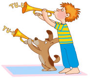 Child's gymnastics. Little boy and the puppy as if to keep on piping brass pipe Royalty Free Stock Photos