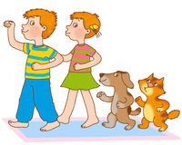 Child's gymnastics. Little boy, girl, kitten and puppy depict train Royalty Free Stock Image