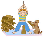 Child's gymnastics. Boy doing gymnastics, and waving his arms as if he cuts firewood Royalty Free Stock Photos