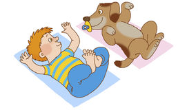 Child's gymnastics. Boy and dog lying on his back, doing gymnastics, depicting the new-born babies Royalty Free Stock Photography