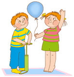 Child's gymnastics. Little boy and girl represent the pump and the balloon Stock Photo