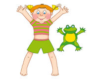 Child's gymnastics. Little girl and frog  on a white background Stock Image