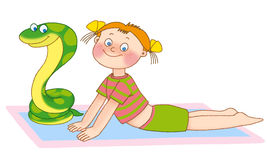 Child's gymnastics. Little girl and snake are lying on a mat on a white background Stock Photos