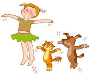 Child's gymnastics. Little girl,kitten and puppy are flying on a white background Royalty Free Stock Photography