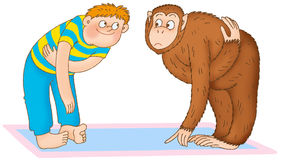 Child's gymnastics. Boy and gibbon are scratching Stock Image