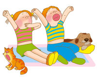 Child's gymnastics. Little girl,boy,kitten and puppy are yawning Royalty Free Stock Images