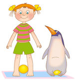 Child's gymnastics. Little girl and penguin on a mat on a white background Stock Photo