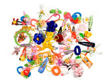 Child's hair-pins on a white background Royalty Free Stock Photos