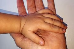 Child`s hand in an adult`s hand, concept stock images