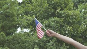 Child`s hand with american flag outdoors stock video