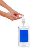 Child's hand dispensing hand sanitizer Stock Images