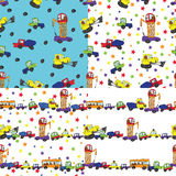 Child's hand draw cars.Funny cartoon Doodle seamless pattern Stock Photos
