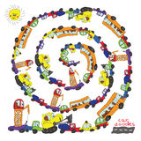 Child's hand draw cars.Funny cartoon Doodle spiral composition Royalty Free Stock Photos