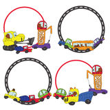 Child's hand draw cars.Funny Doodle circle Frame set Stock Image