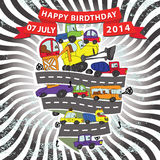 Child's hand draw cars.Funny Doodle composition.Happy birthday Royalty Free Stock Photography