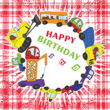 Child's hand draw cars.Funny Doodle.Happy birthday Stock Image