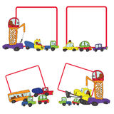 Child's hand draw cars.Funny Doodle square Frame set Royalty Free Stock Photo