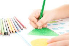Child's hand drawing Stock Photography
